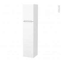 Colonne de salle de bains - 2 portes - PIMA Blanc - Côtés décors - Version A - L40 x H182 x P40 cm