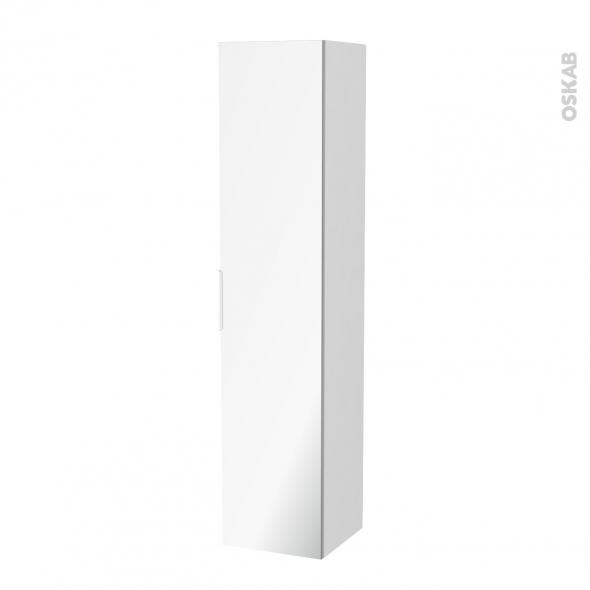 PIMA Blanc - Colonne salle de bains N°1162 - Côté décor - 1 porte miroir - L40XH182XP40
