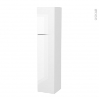 Colonne de salle de bains - 2 portes - BORA Blanc - Côtés décors - Version A - L40 x H182 x P40 cm
