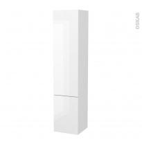 Colonne de salle de bains - 2 portes - BORA Blanc - Côtés blancs - Version B - L40 x H182 x P40 cm