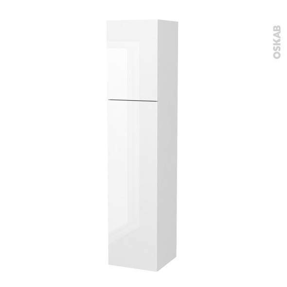 Colonne de salle de bains - 2 portes - BORA Blanc - Côtés blancs - Version A - L40 x H182 x P40 cm