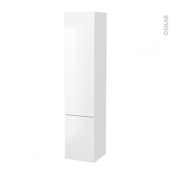 Colonne de salle de bains - 2 portes - STECIA Blanc - Côtés décors - L40 x H182 x P40 cm