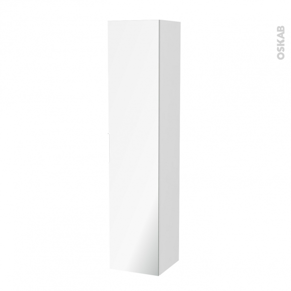 Colonne de salle de bains 1 porte miroir bora blanc c t s for Colonne de salle de bain 1 porte miroir