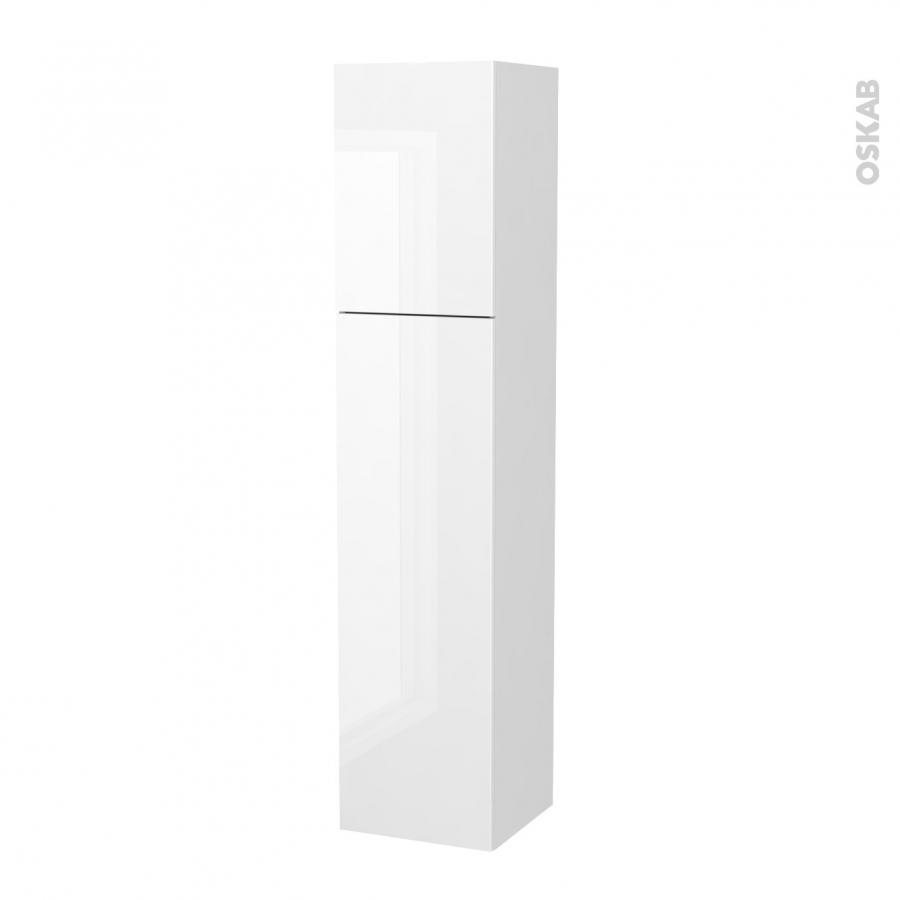Colonne de salle de bains 2 portes bora blanc c t s blancs for Colonne salle de bain 4 portes