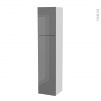 Colonne de salle de bains - 2 portes - STECIA Gris - Côtés blancs - Version A - L40 x H182 x P40 cm
