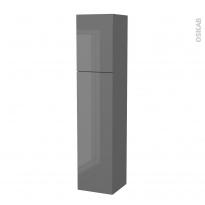 Colonne de salle de bains - 2 portes - STECIA Gris - Côtés décors - Version A - L40 x H182 x P40 cm