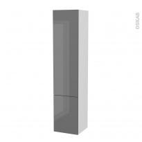 Colonne de salle de bains - 2 portes - STECIA Gris - Côtés blancs - Version B - L40 x H182 x P40 cm