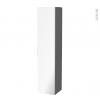Colonne de salle de bains - 1 porte miroir - STECIA Gris - Côtés décors - L40 x H182 x P40 cm