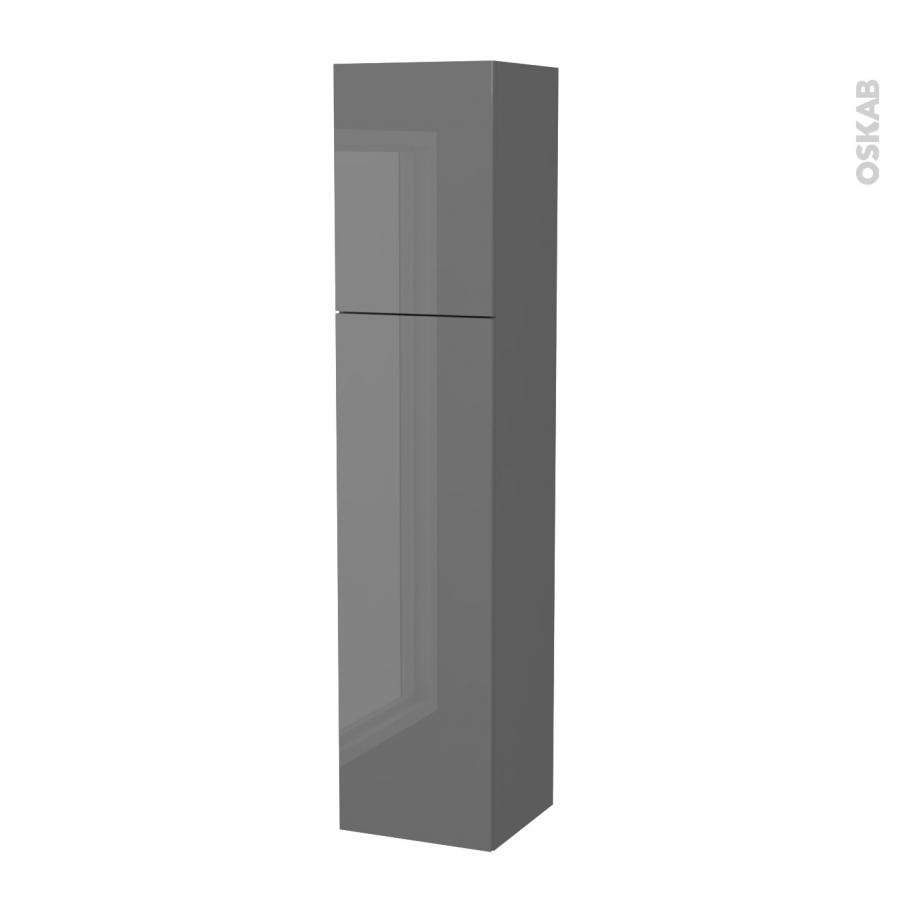 colonne de salle de bains 2 portes stecia gris c t s. Black Bedroom Furniture Sets. Home Design Ideas