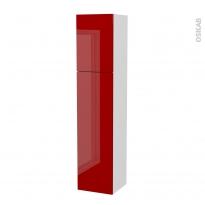 Colonne de salle de bains - 2 portes - STECIA Rouge - Côtés blancs - Version A - L40 x H182 x P40 cm