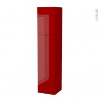 Colonne de salle de bains - 2 portes - STECIA Rouge - Côtés décors - Version A - L40 x H182 x P40 cm