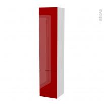 Colonne de salle de bains - 2 portes - STECIA Rouge - Côtés blancs - Version B - L40 x H182 x P40 cm