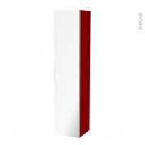 Colonne de salle de bains - 1 porte miroir - STECIA Rouge - Côtés décors - L40 x H182 x P40 cm