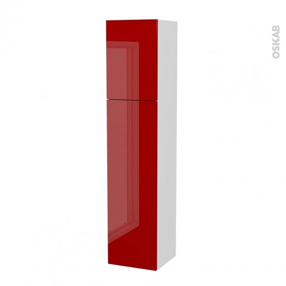 Colonne de salle de bains - 2 portes - STECIA Rouge - Côtés blancs - L40 x H182 x P40 cm