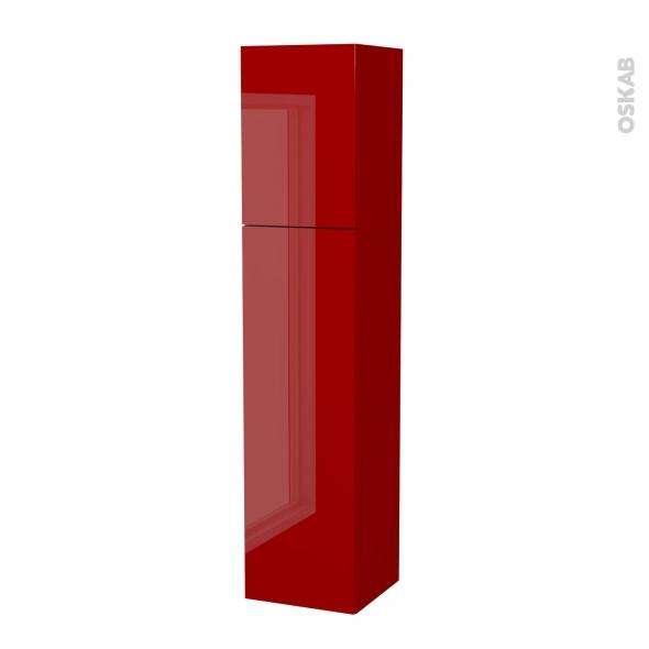STECIA Rouge - Colonne salle de bains N°14262 - Côté décor - 2 portes - L40xH182xP40