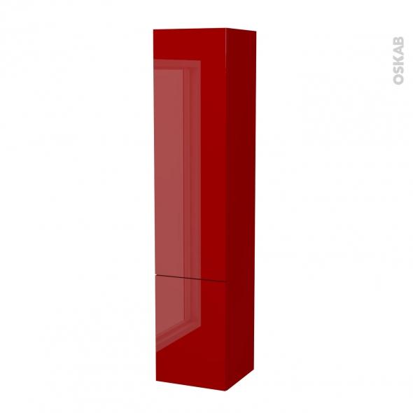 Colonne de salle de bains - 2 portes - STECIA Rouge - Côtés décors - L40 x H182 x P40 cm