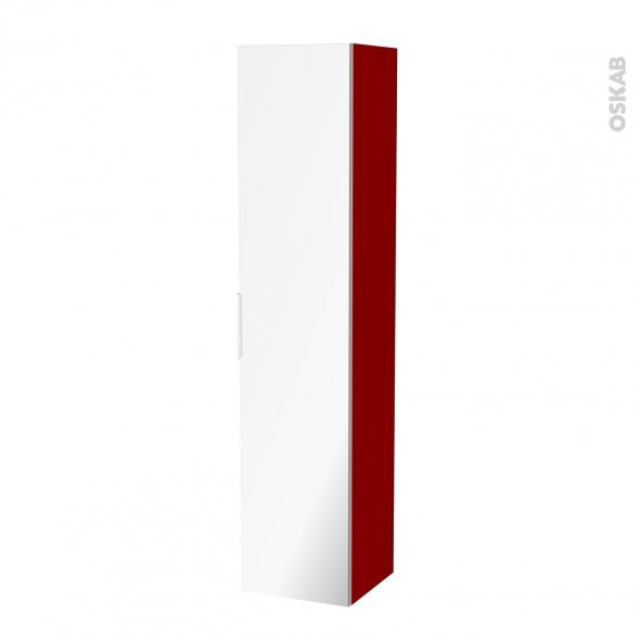 Colonne de salle de bains 1 porte miroir stecia rouge for Colonne de salle de bain rouge