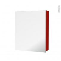 GINKO Rouge - Armoire de toilette N°1152 - Côté décor - 1 porte miroir - L60xH70xP17
