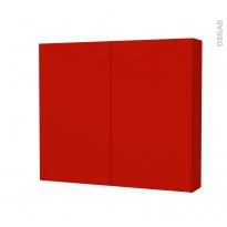 GINKO Rouge - Armoire de toilette N°702 - Côté décor - 2 portes - L80xH70xP17