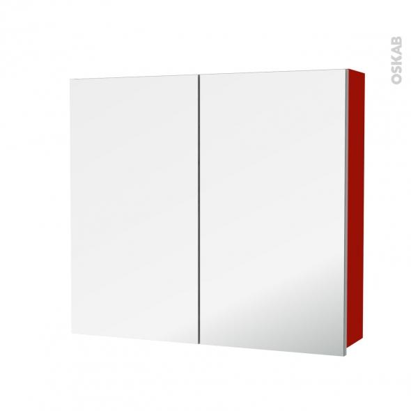 GINKO Rouge - Armoire de toilette N°682 - Côté décor - 2 portes miroir - L80xH70xP17