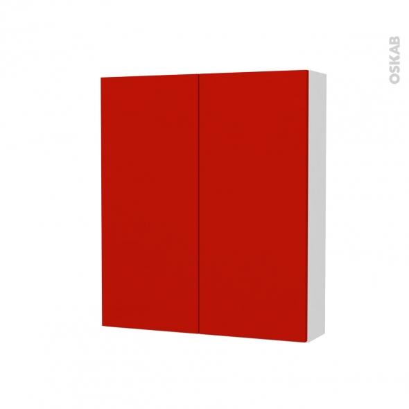 GINKO Rouge - Armoire de toilette N°691 - côté blanc - 2 portes - L60xH70xP17