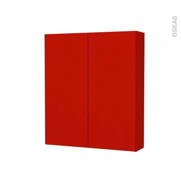 GINKO Rouge - Armoire de toilette N°692 - Côté décor - 2 portes - L60xH70xP17