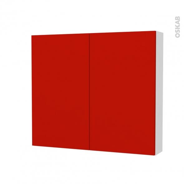 GINKO Rouge - Armoire de toilette N°701 - côté blanc - 2 portes - L80xH70xP17