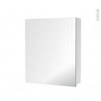 Armoire de toilette - Rangement haut - 1 porte miroir - Côtés blancs - L60 x H70 x P17 cm - HAKEO