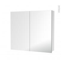 Armoire de toilette - Rangement haut - 2 portes miroir - Côtés blancs - L80 x H70 x P17 cm - HAKEO