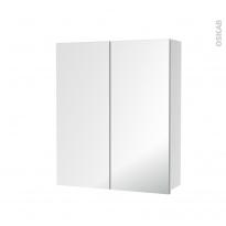 Armoire de toilette - Rangement haut - 2 portes miroir - Côtés blancs - L60 x H70 x P17 cm - HAKEO