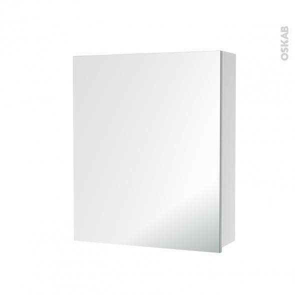 Armoire de toilette rangement haut 1 porte miroir c t s for Porte miroir 60 cm
