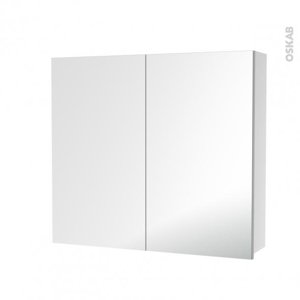 HAKEO - Armoire de toilette N°681 - 2 portes miroir - L80xH70xP17