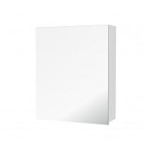 Armoire de toilette - Rangement haut - PIMA Blanc - 1 porte miroir - Côtés décors - L60 x H70 x P17 cm