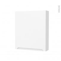 Armoire de toilette - Rangement haut - PIMA Blanc - 1 porte - Côtés décors - L60 x H70 x P17 cm