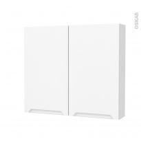 Armoire de toilette - Rangement haut - PIMA Blanc - 2 portes - Côtés décors - L80 x H70 x P17 cm