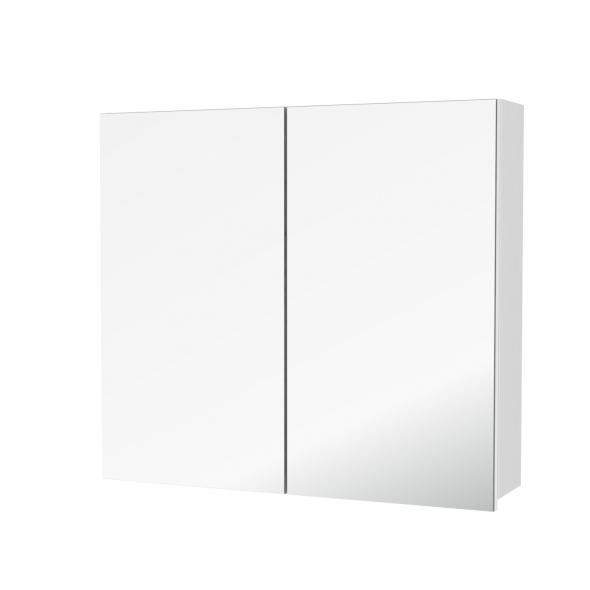 Armoire de toilette - Rangement haut - PIMA Blanc - 2 portes miroir - Côtés décors - L80 x H70 x P17 cm