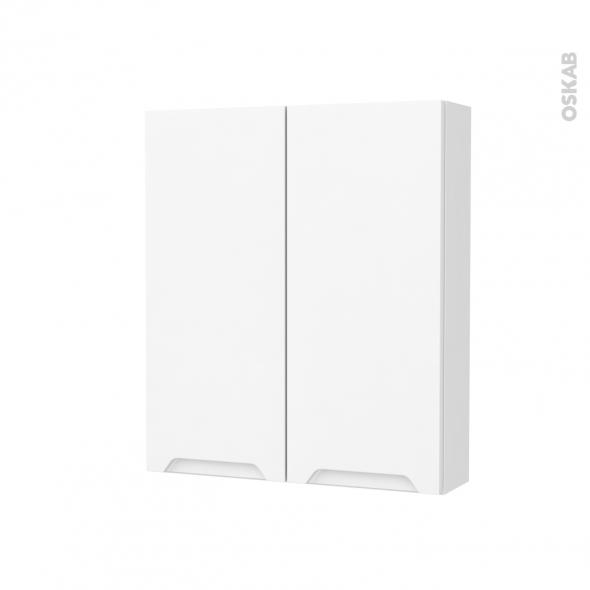 Armoire de toilette - Rangement haut - PIMA Blanc - 2 portes - Côtés décors - L60 x H70 x P17 cm