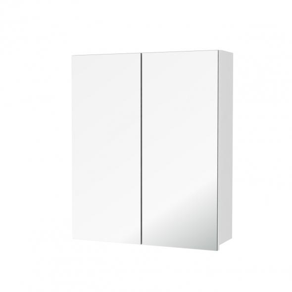 Armoire de toilette - Rangement haut - PIMA Blanc - 2 portes miroir - Côtés décors - L60 x H70 x P17 cm
