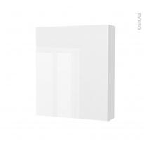 Armoire de toilette - Rangement haut - STECIA Blanc - 1 porte - Côtés décors - L60 x H70 x P17 cm