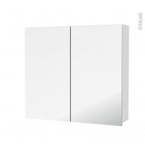 Armoire de toilette - Rangement haut - BORA Blanc - 2 portes miroir - Côtés décors - L80 x H70 x P17 cm