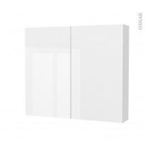 Armoire de toilette - Rangement haut - BORA Blanc - 2 portes - Côtés blancs - L80 x H70 x P17 cm