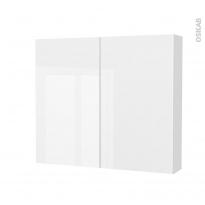 Armoire de toilette - Rangement haut - STECIA Blanc - 2 portes - Côtés décors - L80 x H70 x P17 cm