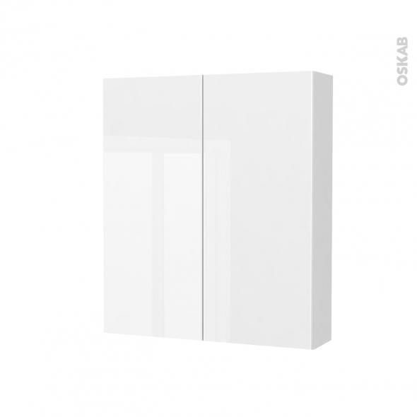 Armoire de toilette - Rangement haut - BORA Blanc - 2 portes - Côtés blancs - L60 x H70 x P17 cm