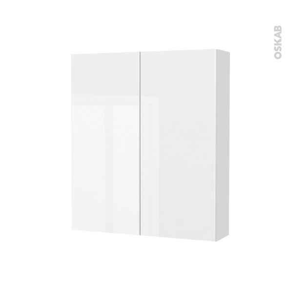 Armoire de toilette - Rangement haut - BORA Blanc - 2 portes - Côtés décors - L60 x H70 x P17 cm
