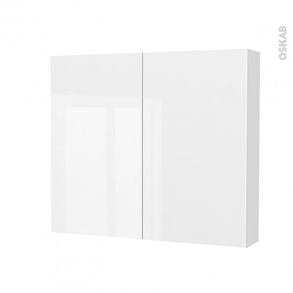 Armoire de toilette - Rangement haut - BORA Blanc - 2 portes - Côtés décors - L80 x H70 x P17 cm