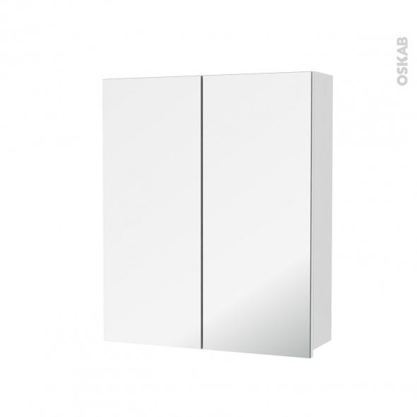 Armoire de toilette - Rangement haut - BORA Blanc - 2 portes miroir - Côtés décors - L60 x H70 x P17 cm