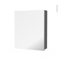 Armoire de toilette - Rangement haut - STECIA Gris - 1 porte miroir - Côtés décors - L60 x H70 x P17 cm