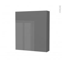 STECIA Gris - Armoire de toilette N°212 - Côté décor - 1 porte - L60xH70xP17