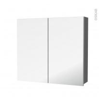 Armoire de toilette - Rangement haut - STECIA Gris - 2 portes miroir - Côtés décors - L80 x H70 x P17 cm
