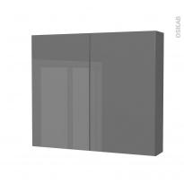 Armoire de toilette - Rangement haut - STECIA Gris - 2 portes - Côtés décors - L80 x H70 x P17 cm